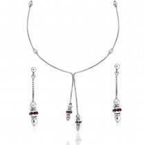 Red CZ Bead 925 Sterling Silver Necklace Set For Women JOCNS1180R
