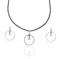 Circular Design 925 Sterling Silver Necklace Set JOCNS1197A