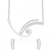 White CZ 925 Silver Tanmaniya Necklace Set JOCNS1229R