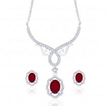 Elegant Floral Red CZ Studded 925 Sterling Silver Necklace Set For Women JOCNSXE1239B