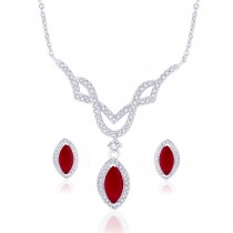 Oval Red CZ Studded 925 Sterling Silver Necklace Set For Women JOCNSXE1240B