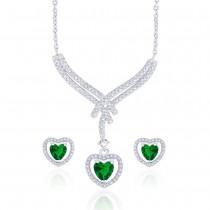 Stunning Heart Green CZ Studded 925 Sterling Silver Necklace Set For Women JOCNSXE1241A