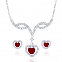 Stunning Red Green CZ Studded 925 Sterling Silver Necklace Set For Women JOCNSXE1241B