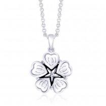 Black Enamel Floral 925 Sterling Silver Pendant For Women JOCPD1367S