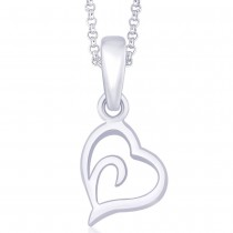 925 Sterling Silver Plain Floting Heart Pendant JOCPD1504S