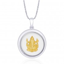 925 Sterling Silver with Gold Plated Ganeshji Pendant For Unisex JOCPD1632G
