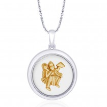 925 Sterling Silver With Gold Plated Hanuman ji Pendant For Men JOCPD1634G