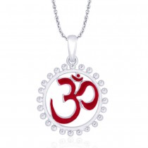 925 Sterling Silver Red Enamel Om Pendant For Men JOCPD1754S
