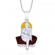 925 Sterling Silver Multicolor Enamel Sai Baba Pendant For Men JOCPD1760S