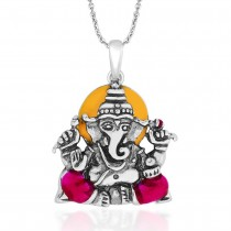 Pink Enamel Ganeshji in 925 Sterling Silver Pendant For Men JOCPD1768A