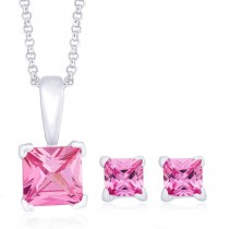 925 Sterling Silver Pendant Set For Women Pink JOCPE0802S