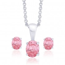 925 Sterling Silver Pendant Set For Women Pink JOCPE0812S