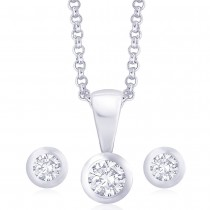 925 Sterling Silver Pendant Set For Women Silver JOCPE0821S