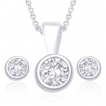 925 Sterling Silver Pendant Set For Women Silver JOCPE0822S