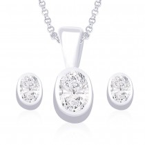925 Sterling Silver Pendant Set For Women Silver JOCPE0827S