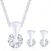 925 Sterling Silver Pendant Set For Women Silver JOCPE0834S