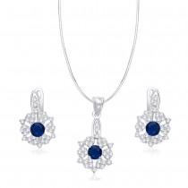 Floral Blue CZ 925 Sterling Silver Pendant Set JOCPE08XLC