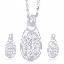 925 Sterling Silver CZ Oval Shape Pendant Set for Women JOCPE1101