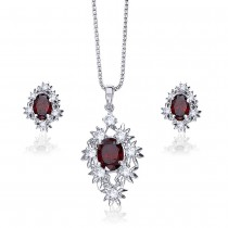 925 Sterling Silver Abstract shape Maroon cz for pendant set for Women JOCPE1154R