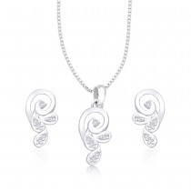 925 Sterling Silver white CZ abstract Designs pendant set for Women JOCPE1227R