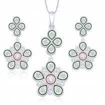 925 Sterling Silver Floral Shape Pendant Set for Women JOCPE1231S
