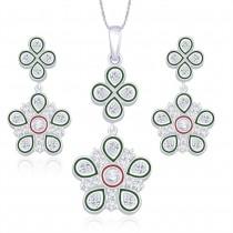 925 Sterling Silver Floral Shape Pendant Set for Women JOCPE1231S
