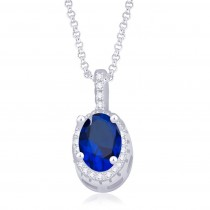 925 Sterling Silver Blue & White CZ Pendant & Earrings Set JOCPE1245E