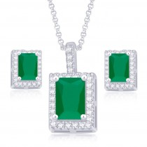 925 Sterling Silver Green CZ Radiant Cut Pendant Set JOCPE1246B