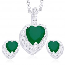 925 Sterling Silver Green & White CZ Heart Pendant Set JOCPE1251B