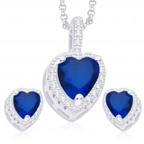 925 Sterling Silver Blue & White CZ Heart Pendant Set JOCPE1251E