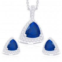 925 Sterling Silver Blue CZ Triangles Pendant Set For Women JOCPE1252E