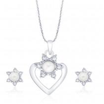 925 Sterling Silver CZ Heart Design Pendant Set for Women JOCPE1275R