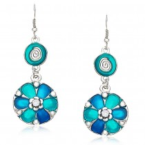 Xcite Round shape blue color drop earrings for Women JOCXER101