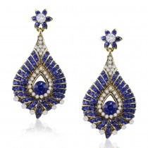 Xcite Blue & White Stone Chandelier Earrings For Women JOCXER129BLU