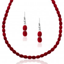 Xcite Maroon Beaded Necklace Set With Matching Earrings for Women JOCXML107