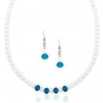 Xcite Pearl Necklace Set With Blue Crystal Beads Earrings for Women JOCXML108