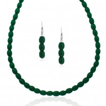 Xcite Green Beaded Necklace Set With Matching Earrings for Women JOCXML113
