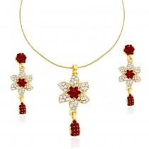 Xcite Aluring Red & White Stone Pendant & Earrings Set For Women's JOCXNS248