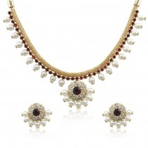 Xcite Golden Colour Pearls & Ruby Color Stone Necklace Set For Women JOCXNS253