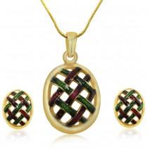 Xcite Multicolor Enamel Oval Shape Pnedant With Earrings JOCXPE241