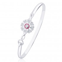 925 Sterling Silver Floral Pink enamel Bangle for women