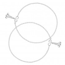 925 Sterling Silver Pink Enamel Floral Charms Anklet Single Line Plain Ending with Charm 925 Silver Anklet For Women