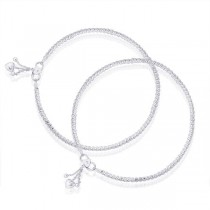 Single Line Designer Ending with Heart Charm 925 Sterling Silver Anklet For Women