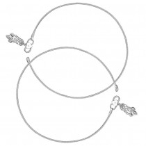 Single Line Plain Ending with Charm 925 Sterling Silver Anklet For Women