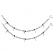 Enamel Charms 925 Sterling Silver Anklet For Women