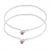 925 Sterling Silver Floral Charm Anklet