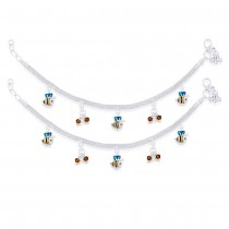 925 Sterling Silver Dangling Enameled Honey Bee Anklet For Kids