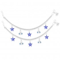 925 Sterling Silver Adorable Star & Beads Charm Anklet For Kids