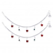 925 Sterling Silver Apple Charm Anklet For Kids