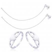 925 Sterling Silver Combo of Anklet & Toe Ring COMBO